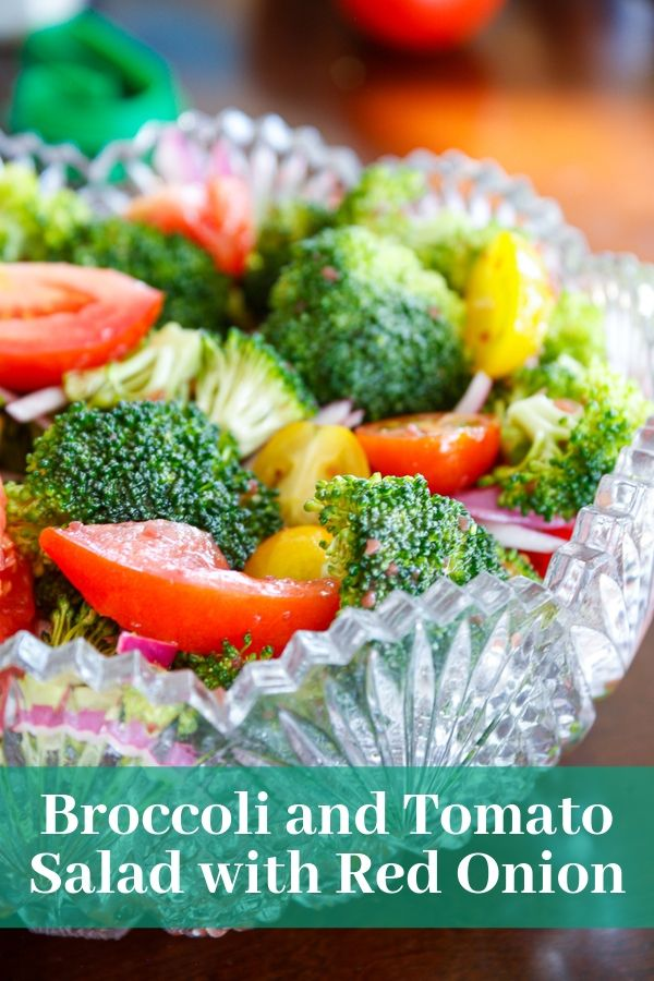one of many easy side salads - a broccoli and tomato salad with red onion and soaked in red wine vinaigrette