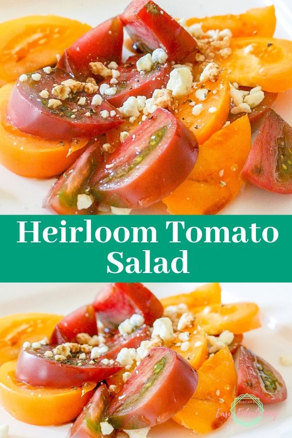 heirloom tomato salad made with red and yellow heirloom tomatoes and Gorgonzola cheese