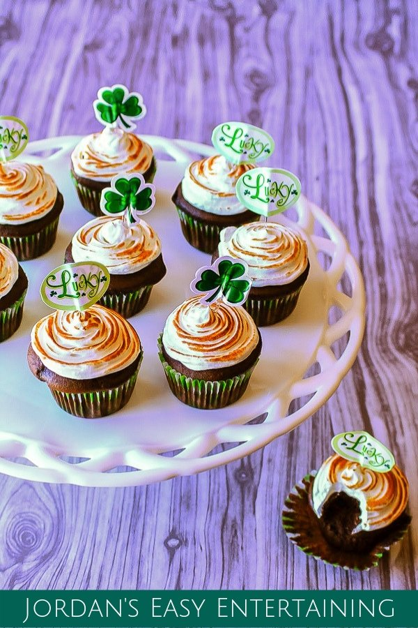 These yummy dark chocolate Guinness cupcakes are super easy to mix when you tweak a box of cake mix. Top that off with a homemade toasted Guinness meringue frosting and this dessert will have you wanting to celebrate St. Patrick's day everyday!