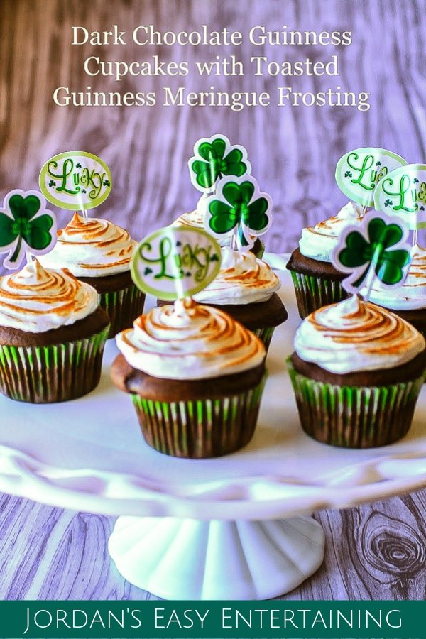 These dark chocolate Guinness cupcakes with toasted Guinness meringue frosting are so easy to make and are beyond delicious! #stpatricksday #stpatricksdayfood #chocolate