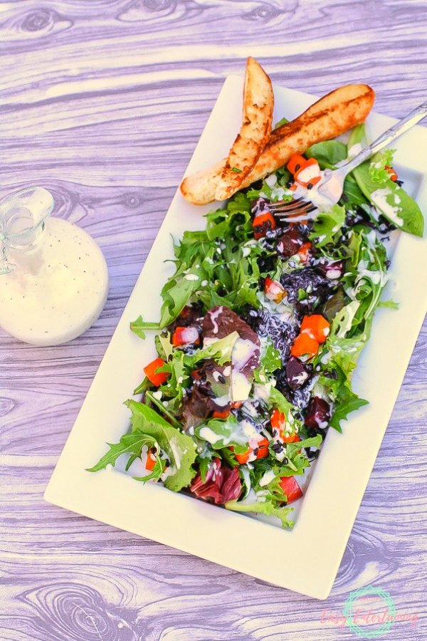 Whip up this delicious salad that has black rice, red and golden beets and butternut squash for a healthy entree or side salad. Complete with a creamy dressing that tastes like Ranch.