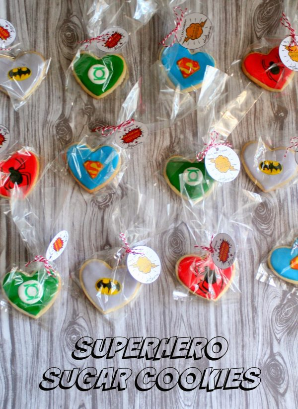 Make these heart shaped superhero sugar hero cookies for Valentine's day.
