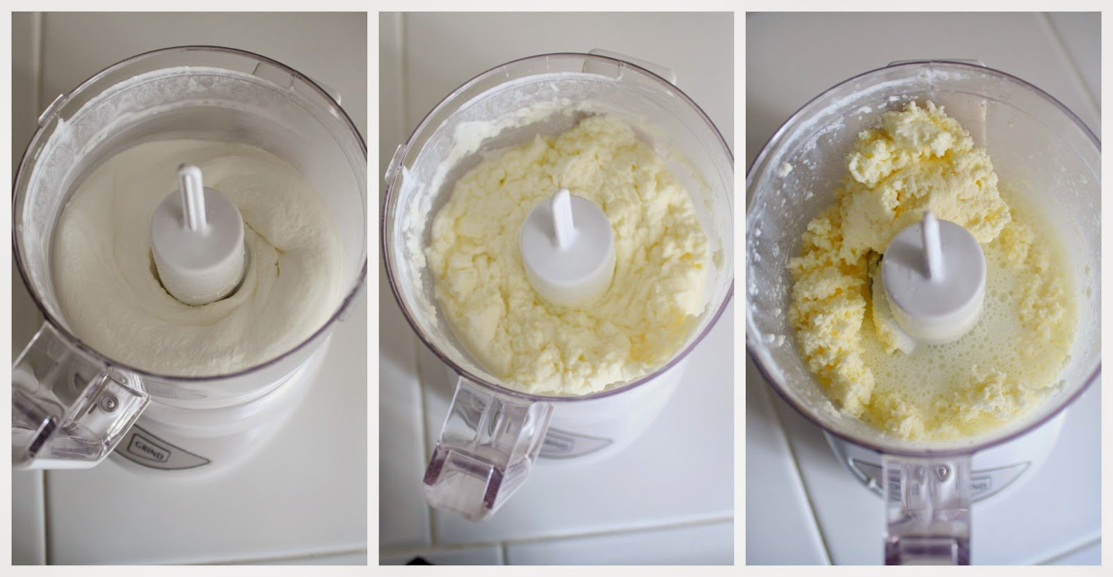 making homemade butter in a food processor