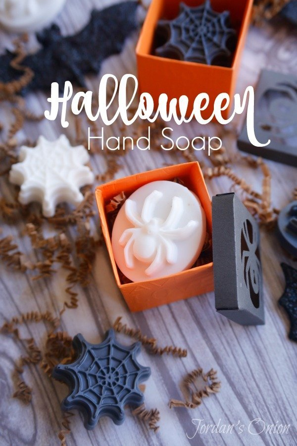 black and white Halloween hand soaps in the shapes of spiders and spider webs