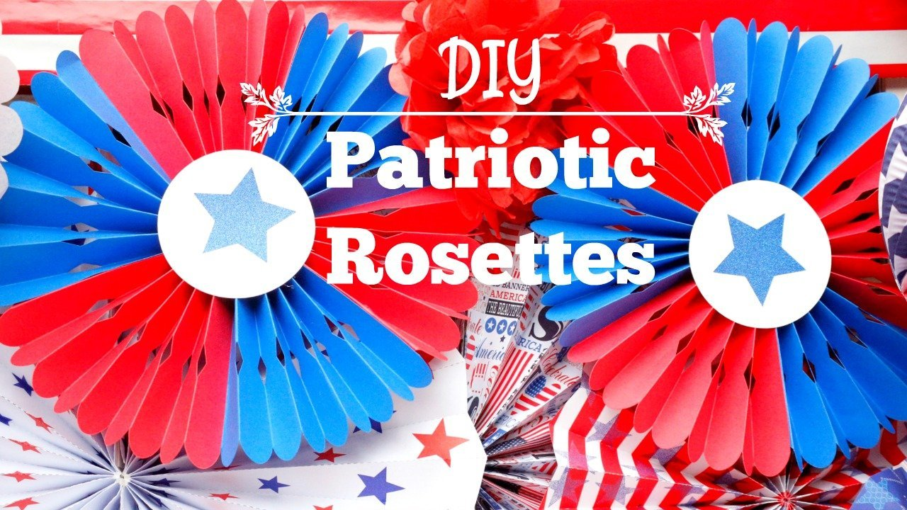Here's a quick and easy to decorate for Patriotic holidays - Patriotic red, white, and blue rosettes!