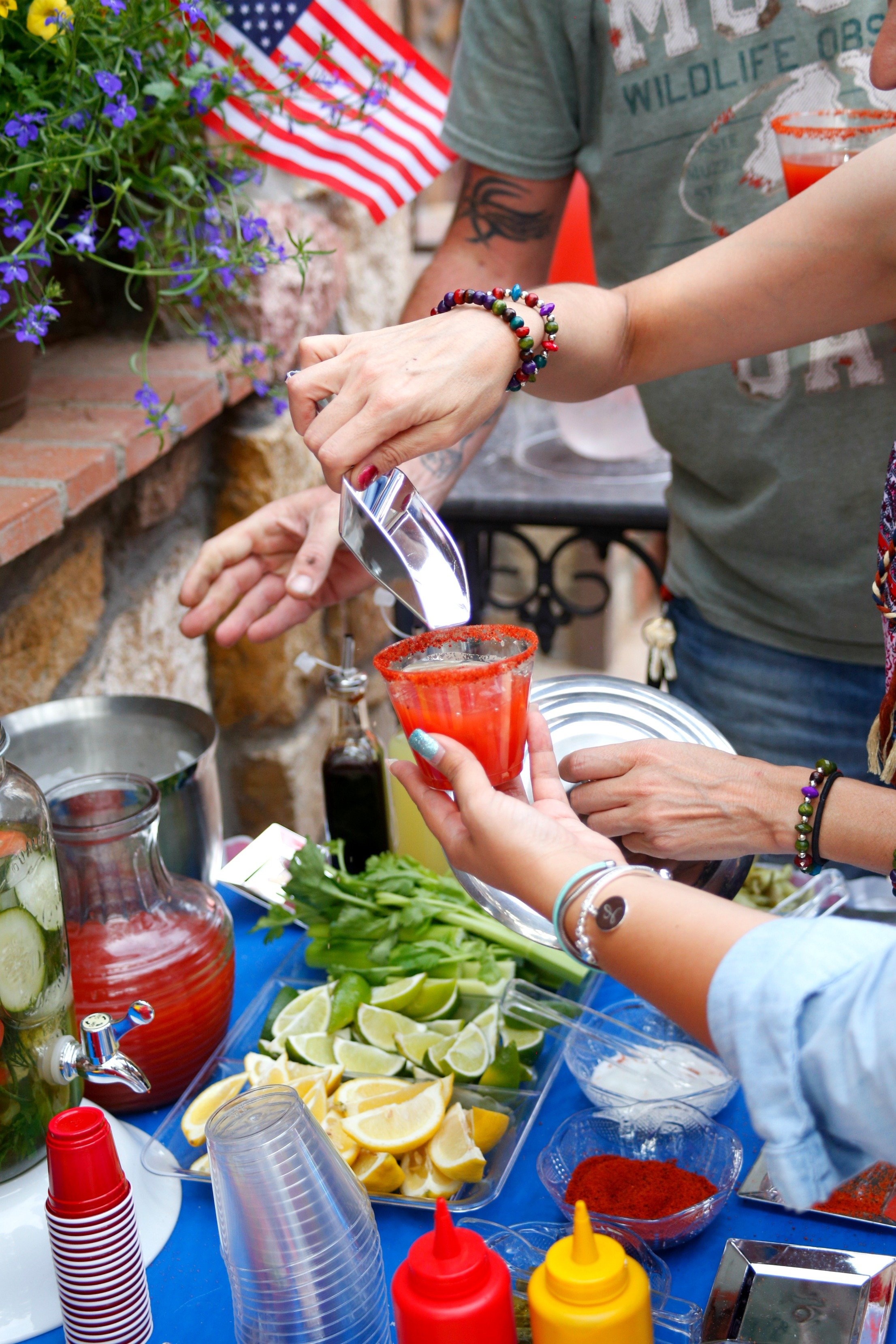 Set up a Bloody Mary bar so your guests can customize their ultimate Bloody Mary