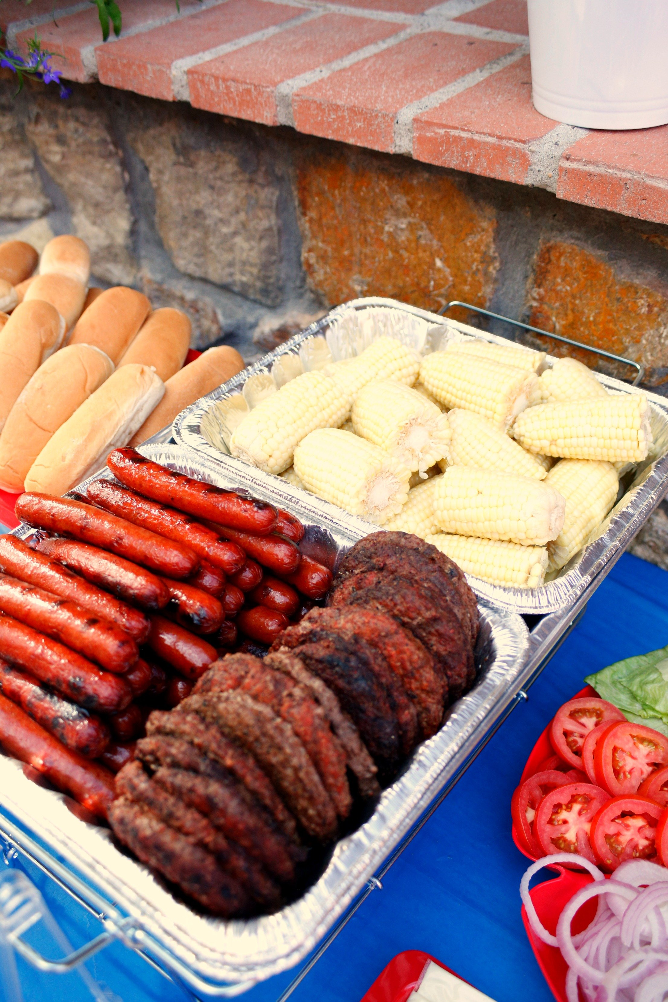 Hot dogs, hamburgers, and corn for your 4th of July party