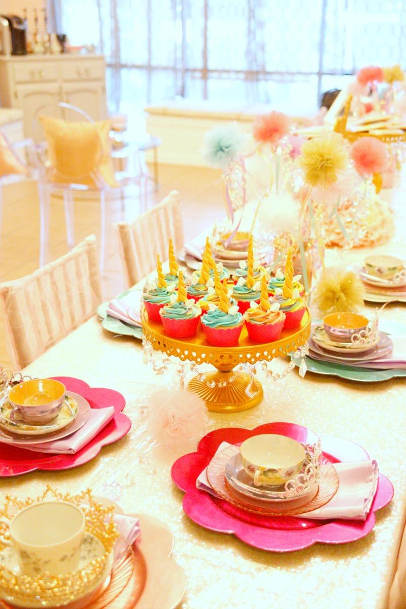Rainbow and Unicorn birthday party set up.