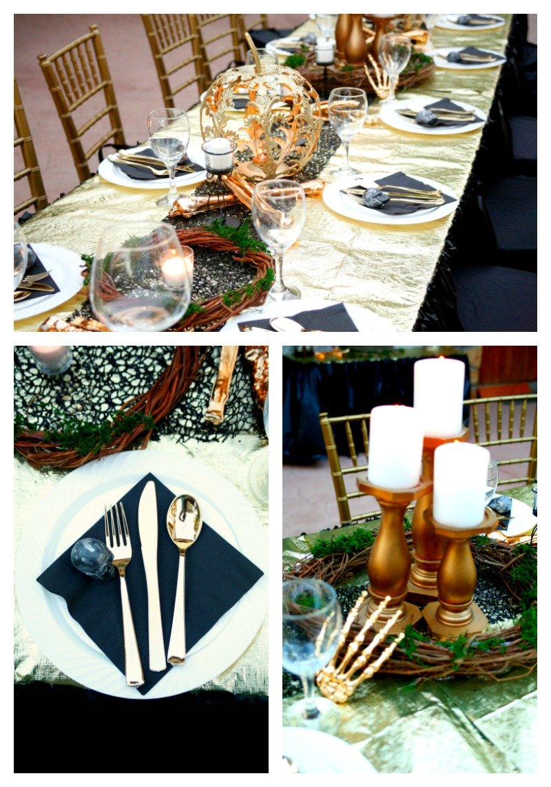 Throw a creepy but beautiful black and gold Halloween dinner party. #Halloween2017 #blackandgoldhalloween
