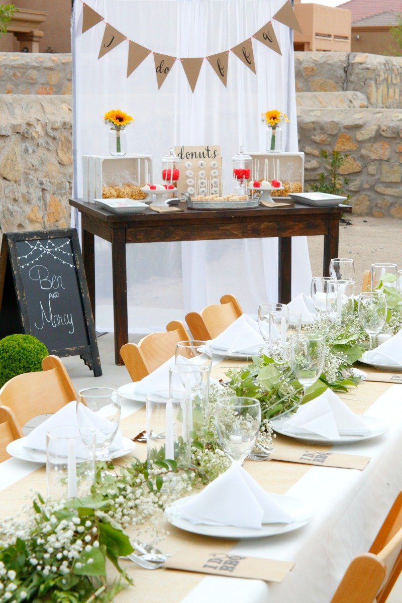 A rustic but elegant setup for an I Do BBQ engagement party #IDoBBQ