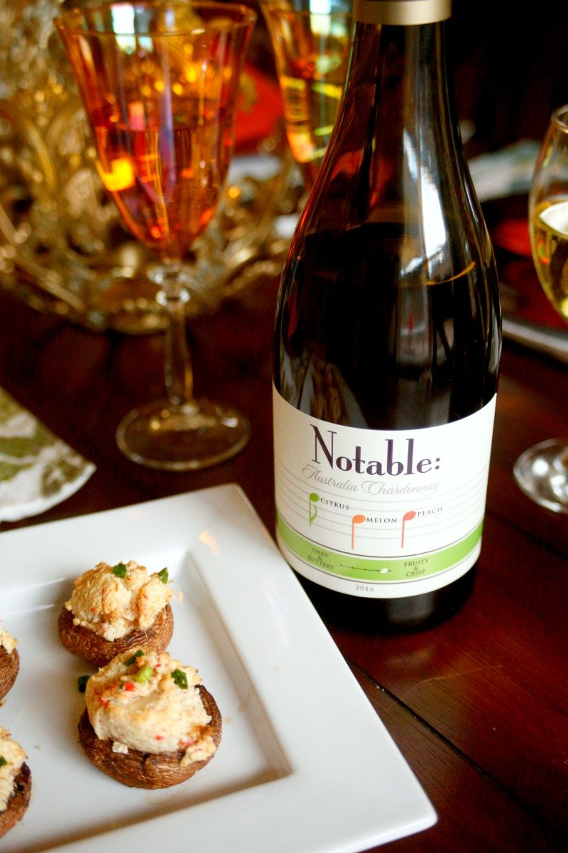 Msg 4 21+ These Crab Stuffed Mushrooms are the perfect appetizer for your holiday parties and pair perfectly with a delicious chardonnay #Chardonnation  #NotableHoliday [ad]