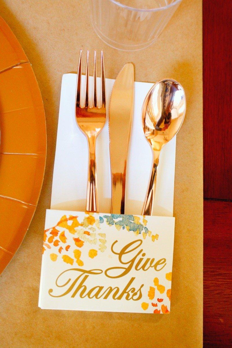 "Love these ""give thanks"" utensil holders from @orientaltrading #friendsgiving #Thanksgiving2017"