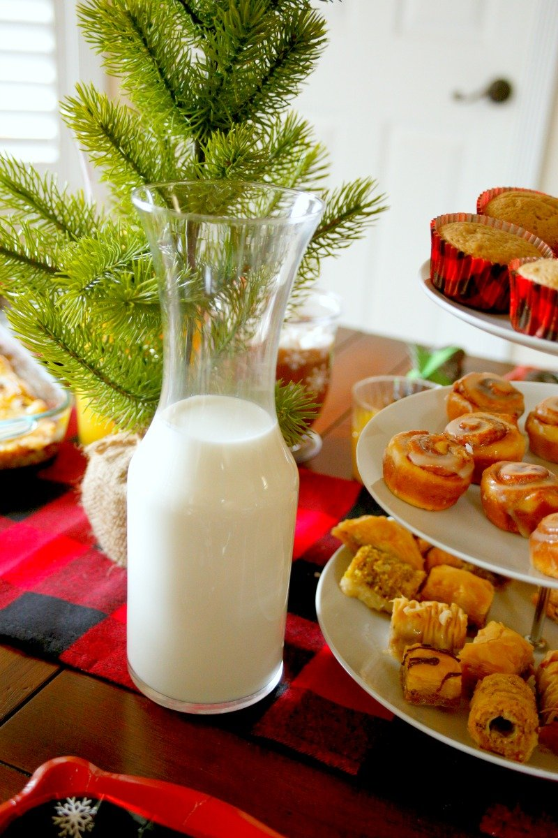 Set out your food and drinks on your Christmas morning table limit the amount of times you need to get up #orientaltrading