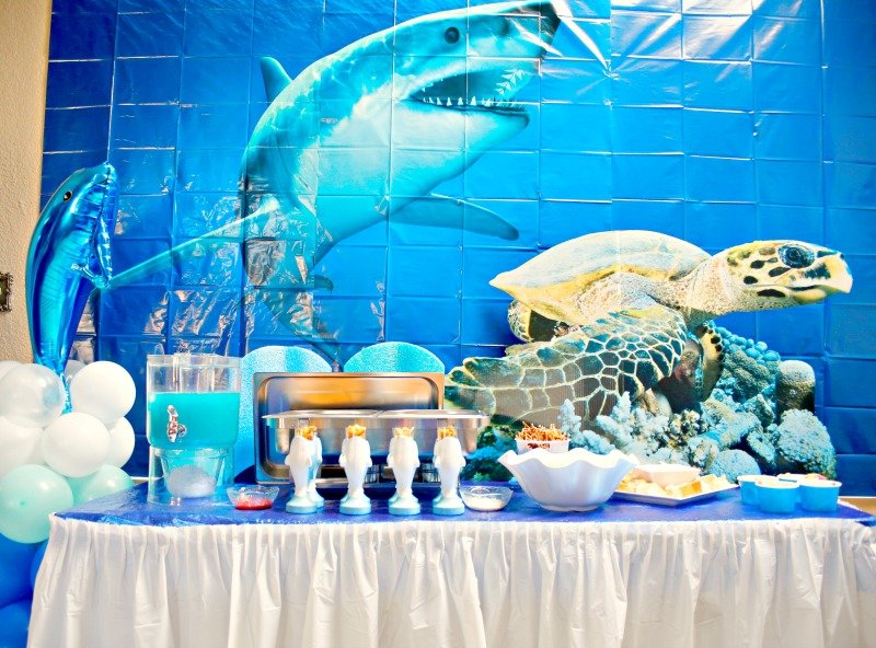 Shark party buffet setup #OrientalTrading #sharkparty