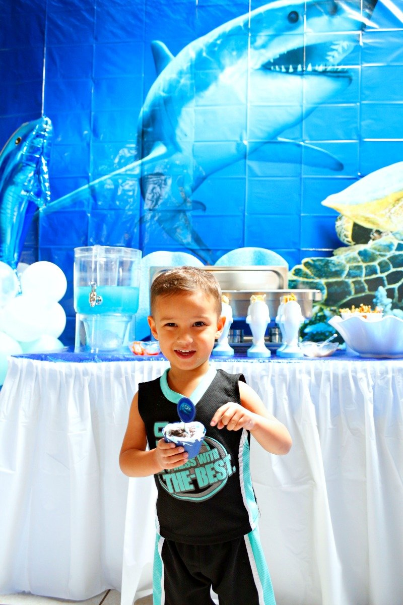 A fun and affordable shark party put together with items from Oriental Trading Company. #orientaltrading #sharkparty