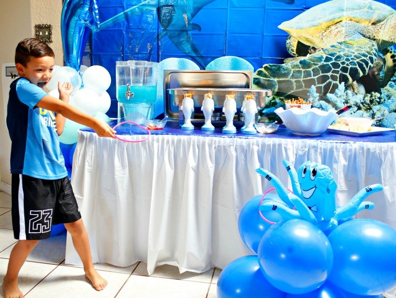 Having fun at a shark party with this octopus ring toss game from Oriental Trading Company #sharkparty #OrientalTrading