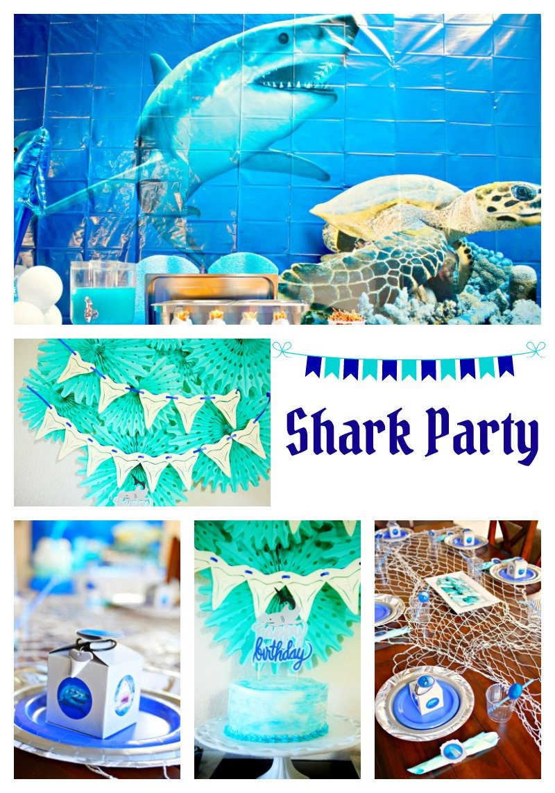 A fintastic shark birthday party full of fun DIY ideas for party decor, food, and entertainment #sharkparty #OrientalTrading
