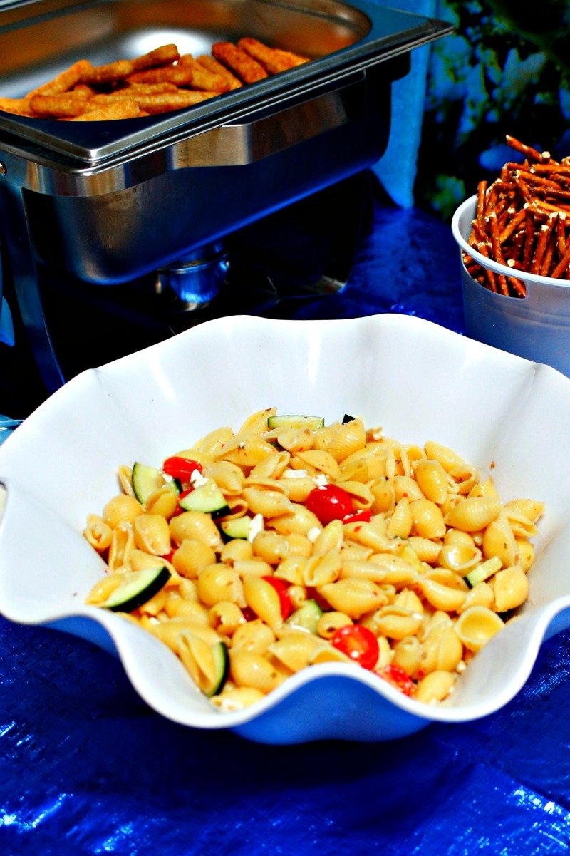 """seashell"" pasta salad perfect for serving at any Under the Sea themed party #sharkparty"