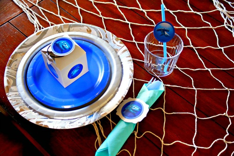 Shark Party table setting #sharkparty #OrientalTrading #CricutMaker