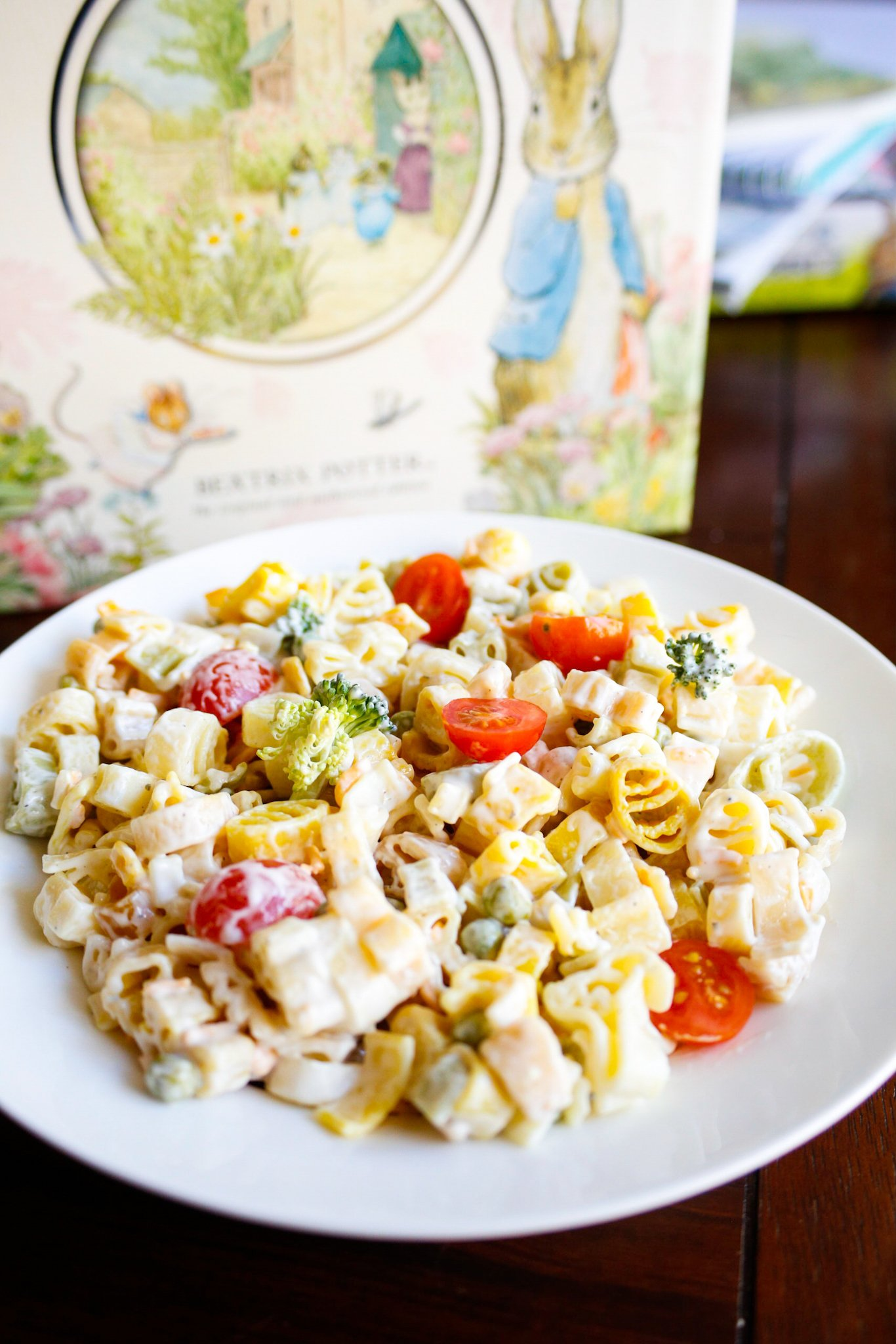 Do your kids love Peter Rabbit?  Whip up this pasta salad recipe for a fun surprise with Peter Rabbit pasta shapes. #PeterRabbit #WorldMarketTribe