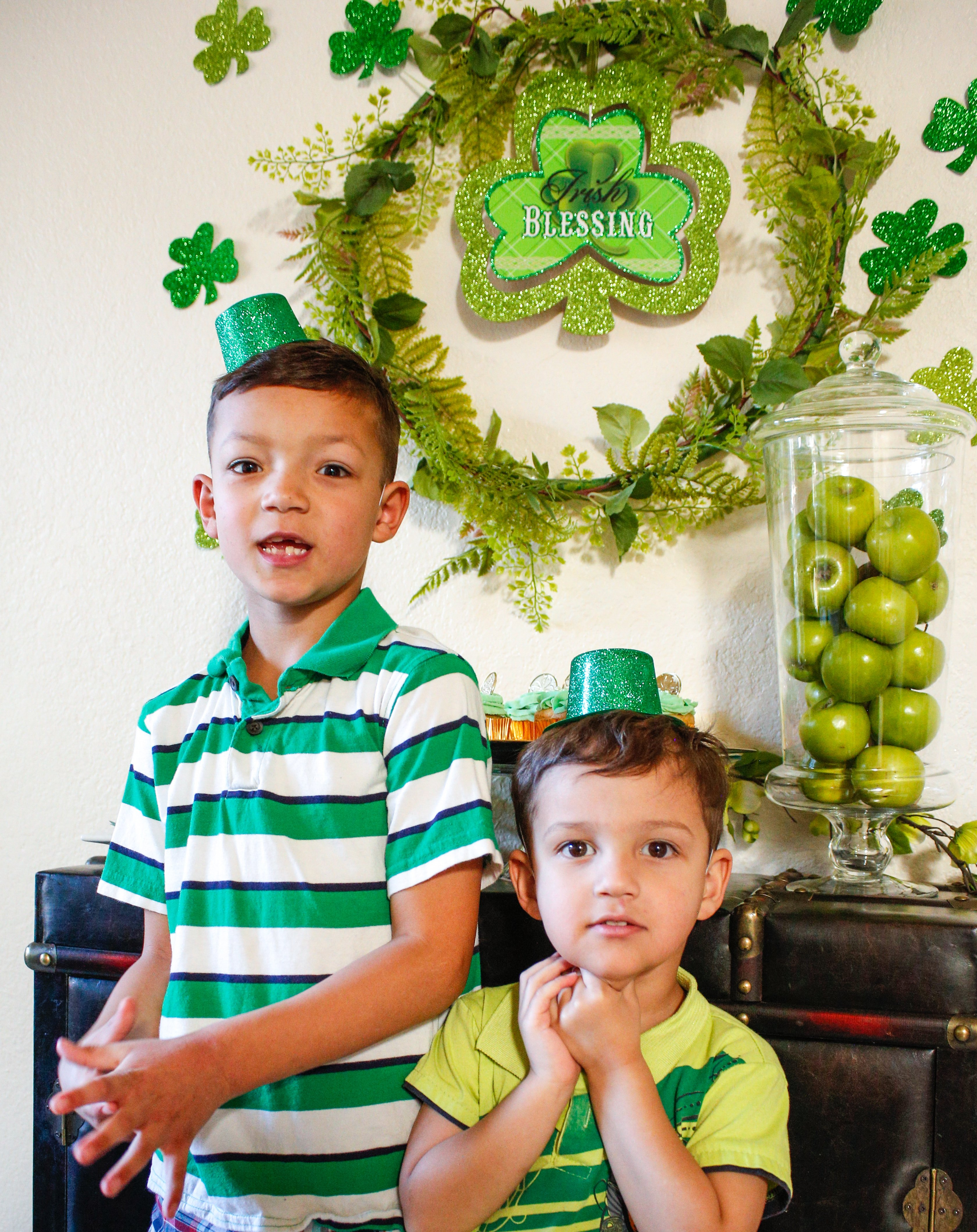 Dress up the kids in fun green hats for a family style St. Patrick's day dinner party