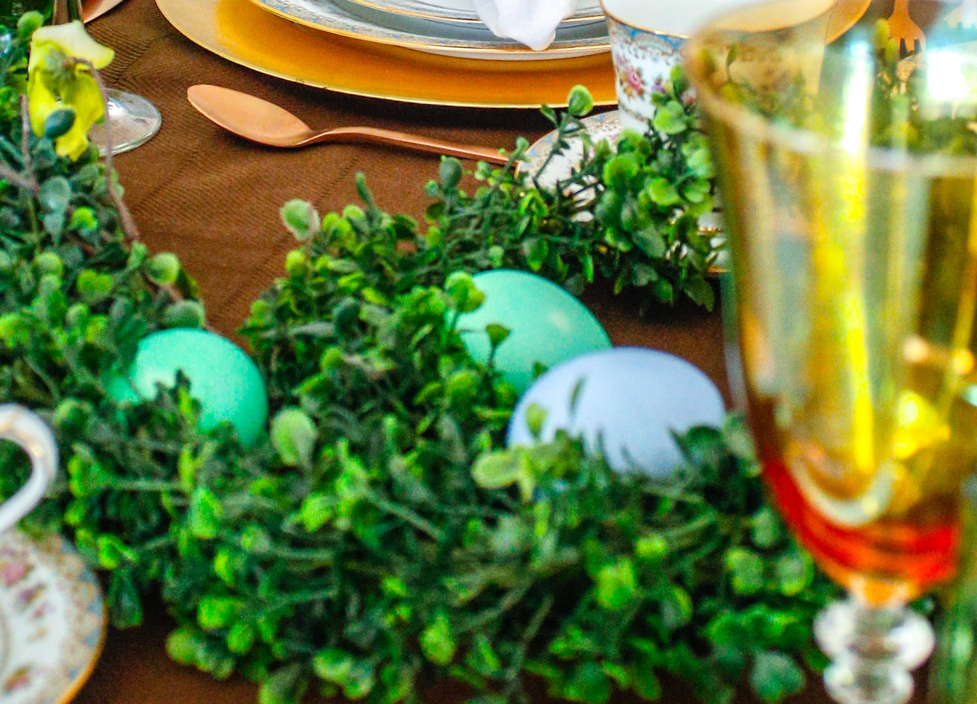 Use dyed Easter eggs for your table decor