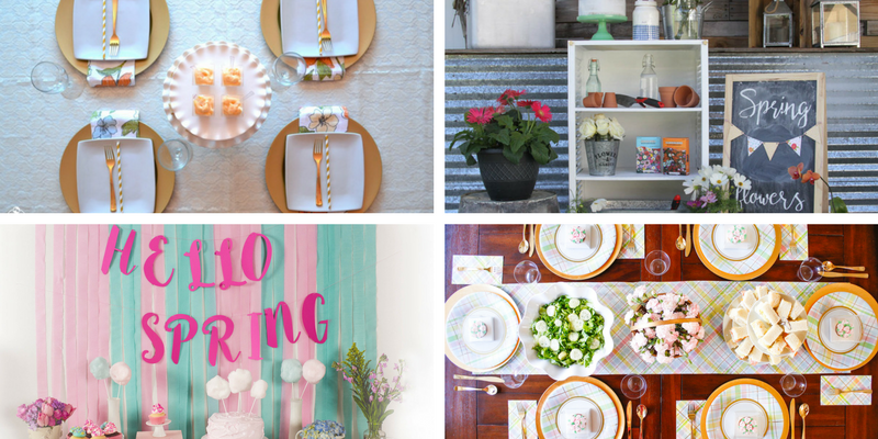 Collage of spring parties for the Spring Party Blog Hop