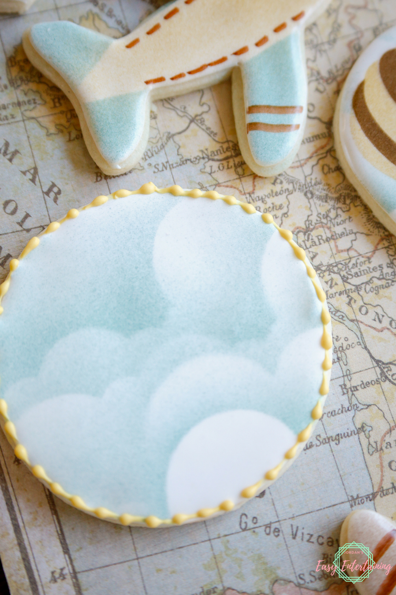 Cloud cookies for a vintage travel themed baby shower