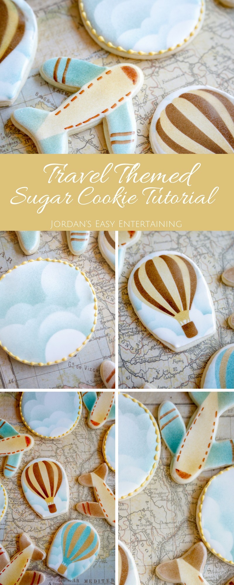 Follow this tutorial to make beautiful travel themed sugar cookies in no time!