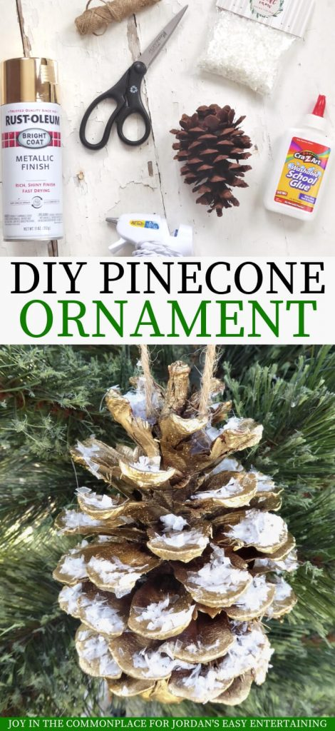 DIY Snow Covered Pine Cone Ornament