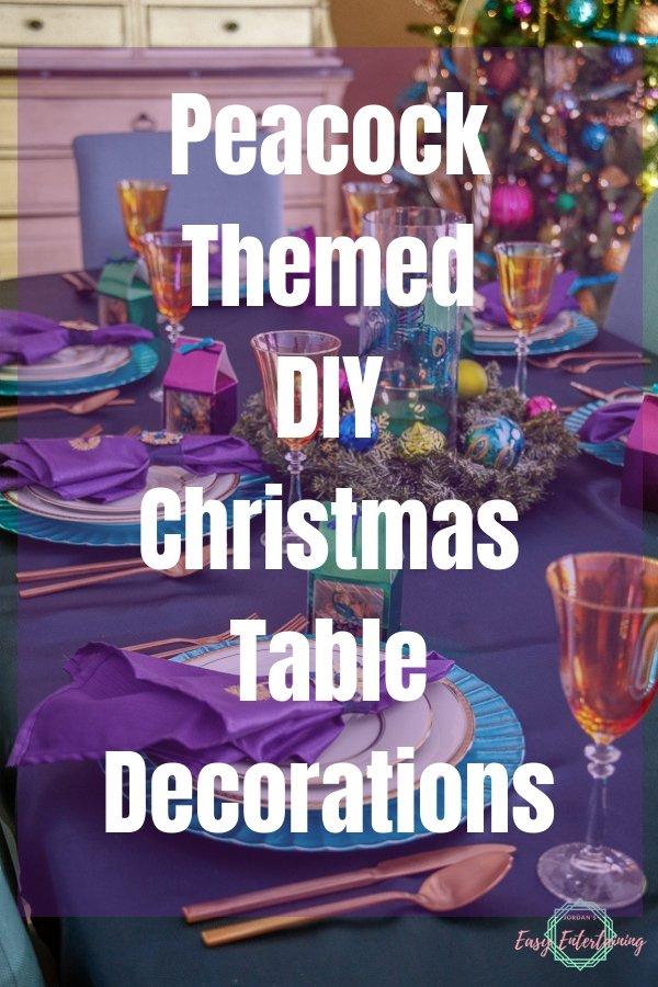 Peacock themed DIY Christmas Table Decorations #ad #Cricut