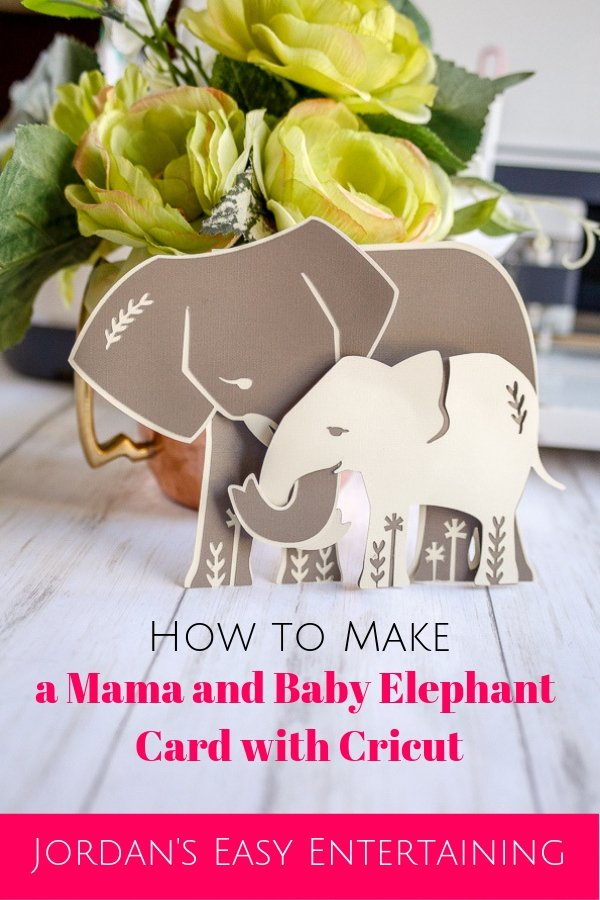 See how to make these mama and baby elephant Cricut thank you cards in no time! #homemadewithlove #cricut #papercrafts