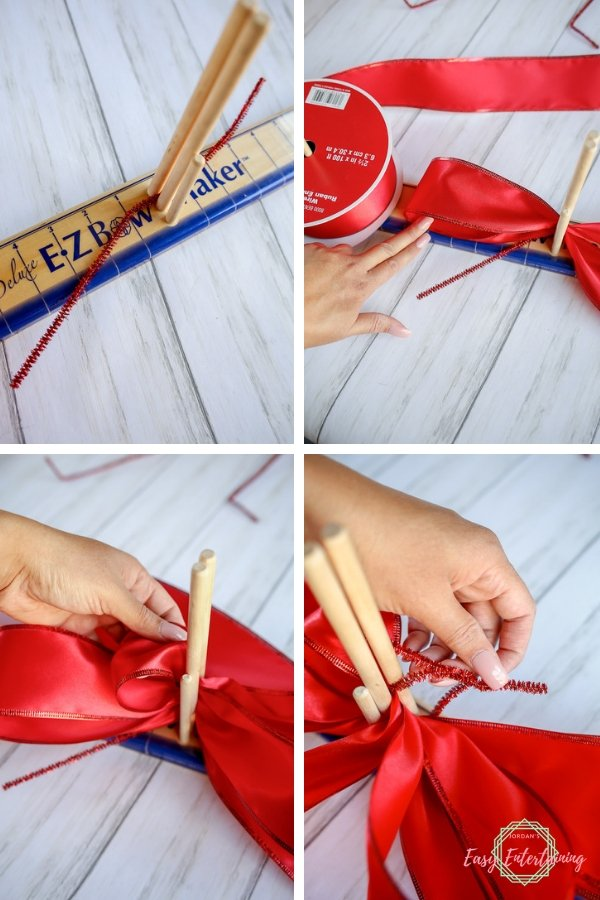 It's so easy to make your own beautiful ribbon bows with the use of a bow maker. See how! #homemadewithlove