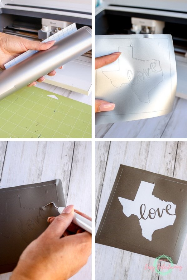 Create a vinyl stencil with your Cricut machine to use to etch glass for a personalized gift #Homemadewithlove