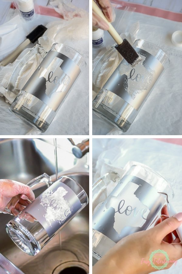 Create a personalized gift by creating your own stencils and using it to etch a glass mug.  #Homemadewithlove