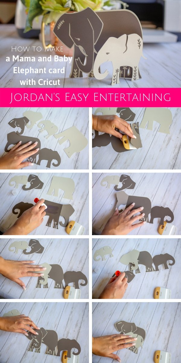 How to make mama and baby elephant Cricut thank you cards available right in Cricut Design Space #homemadewithlove #Cricut #papercrafts