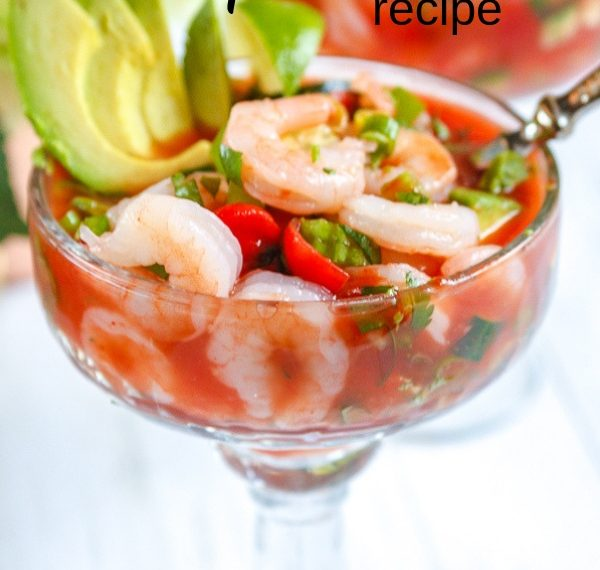 Mexican shrimp cocktail recipe served in a Margarita glass