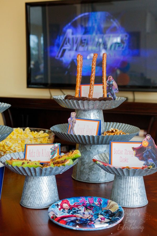 Avengers family movie night superhero party food ideas