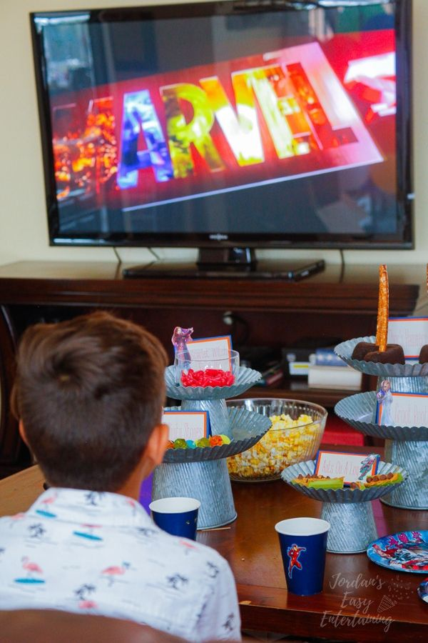 watching Avengers Endgame for family movie night with tasty superhero party foods
