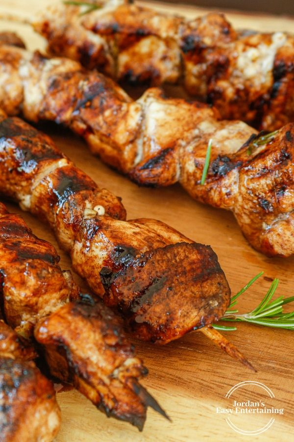 closeup of the best chicken kabobs you can make on the grill