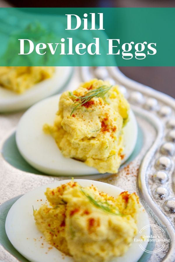 One of the most simple but fancy egg dishes! Impressive easy appetizers with e text dill deviled eggs