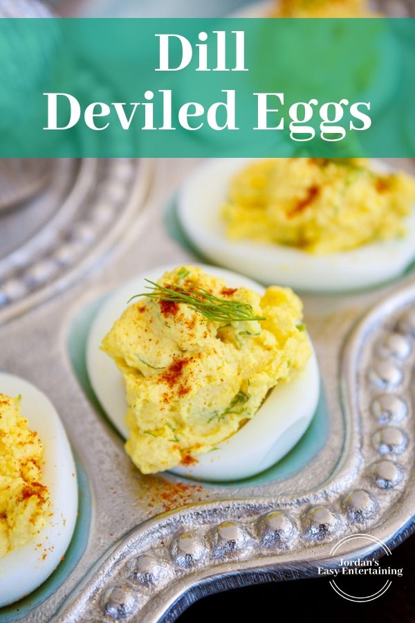 a serving dish filled with yummy stuffed eggs