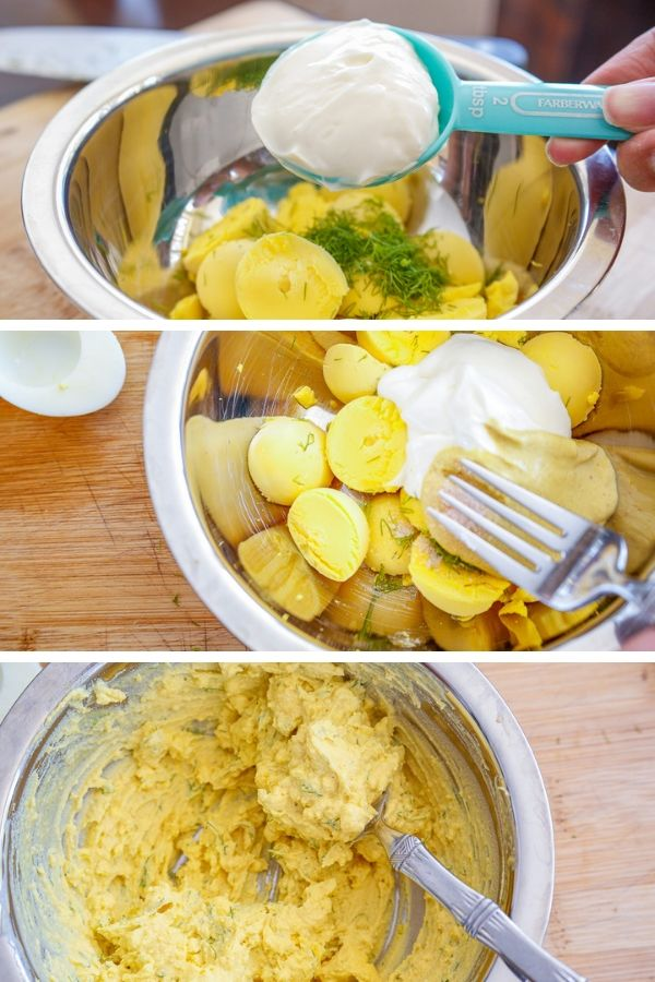 a collage demonstrating how to make deviled eggs also known as dressed eggs or angel eggs