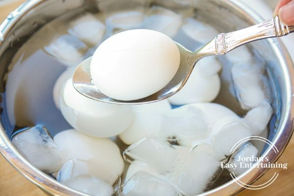 when making a hard boiled egg, add the egg to a bowl of ice water after boiling for easy peeling.
