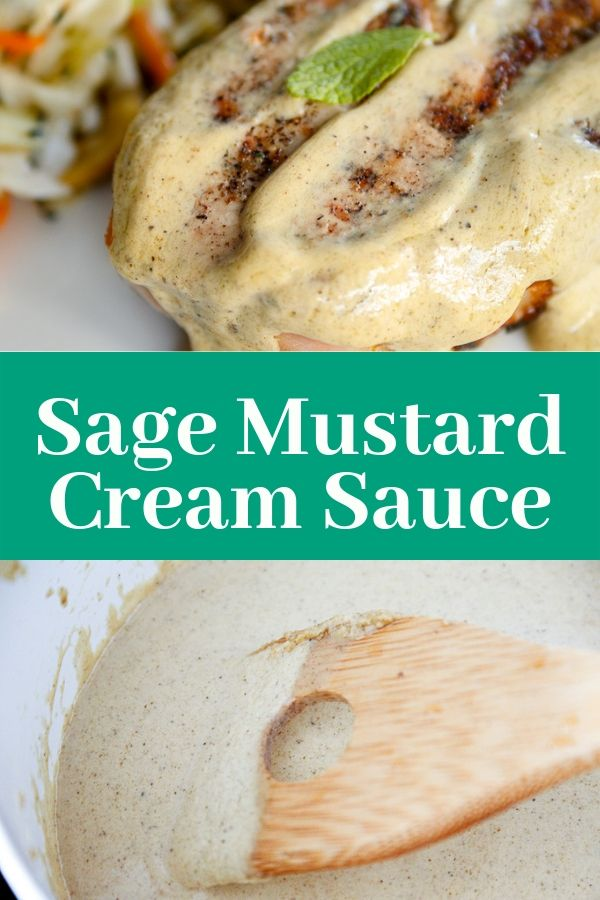 sage mustard cream sauce on top of a grilled pork chop and shown being prepared