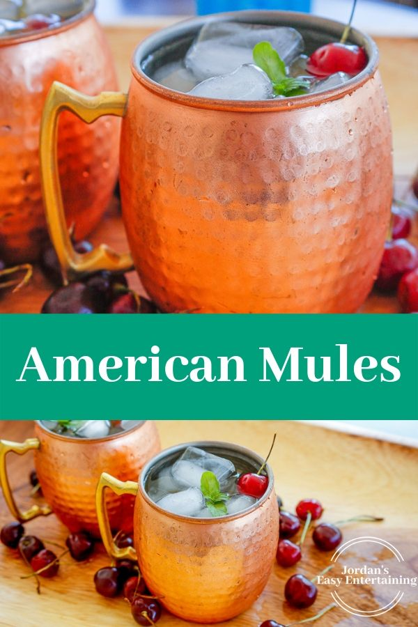 2 images of a vodka mule recipe with the text American Mules