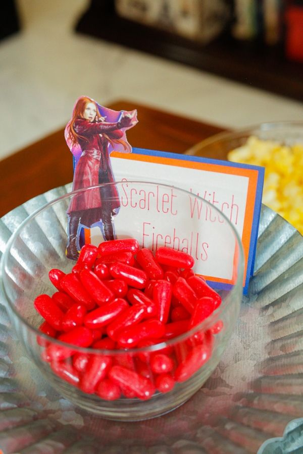 Scarlet Witch fireballs as superhero party food for family movie night
