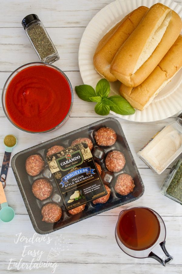 fresh ingredients for easy meatball subs