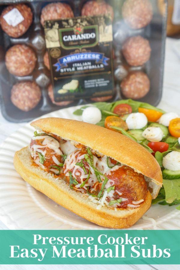 an Italian meatball sub sandwich with Carando meatballs