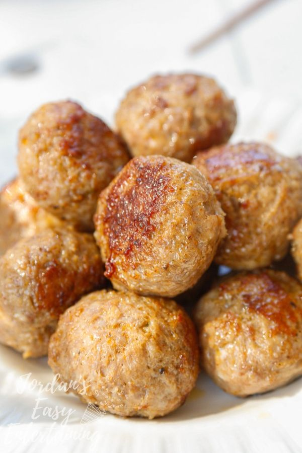 perfectly browned Carando Fresh Italian-Style Meatballs straight from the Instant pot